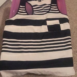 A blouse blue and cream striped tank top